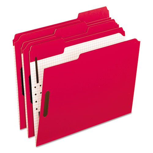Reinforced Top Fastener Folders, 1/3 Cut, Letter, Red/Grid Interior, 50/Box, Sold as 1 Box