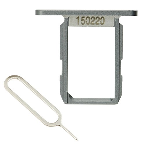 LUVSS New Sim Card Tray Slot Holder Replacement Part for Samsung Galaxy S6 (All Carriers) with Remover Ejector Pin (Grey) from LUVSS