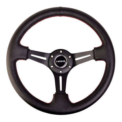Steering Wheels 350mm Sport Steerign Wheel (2'' Deep) Black Leather with Red Stitching ST-018R by NRG Innovations (Image #4)