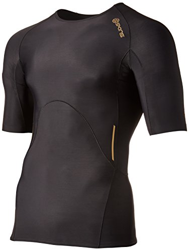 Skins Men's A400 Short Sleeve Compression Top, Black/Gold, Small by Skins (Image #1)