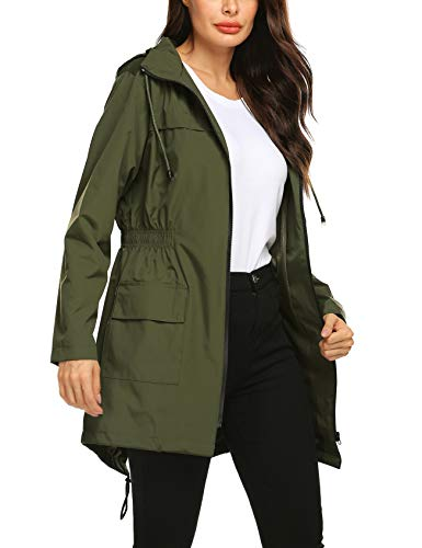 Avoogue Women Waterproof Windbreaker Long Sleeve Rain Jacket Hooded Hiking Camping Outdoor Wear Double Layer Coat Amry Green L