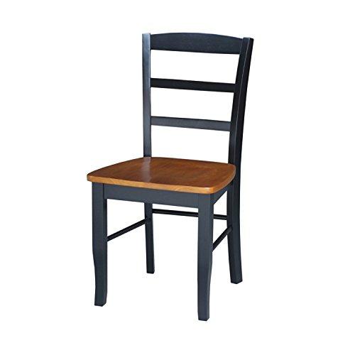 Madrid Dining Room Set - International Concepts C57-2P Pair of Madrid LadderBack Chairs, Black/Cherry