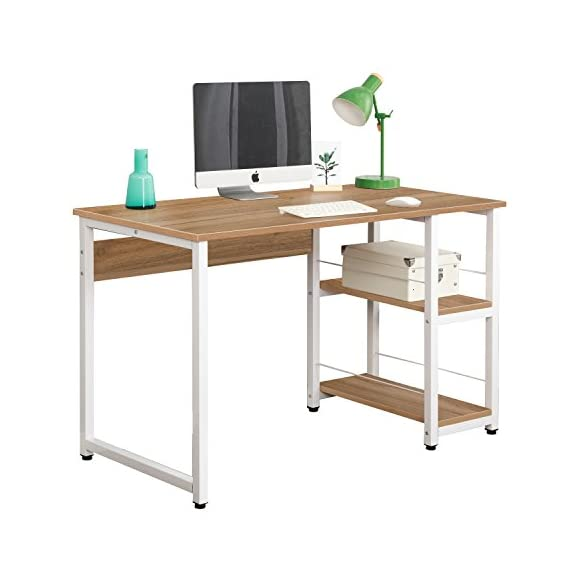 Soges 47 inches Computer Desk Home Office Morden Style with Open Shelves Worksation Desk,Oak DZ013-120-OK - 【Open Shelf Design】With a 2-layer open shelf on the side of the desk, you can place accessories like headphone, books, file pocket etc. This modern desk could make your things well organized, keep your desktop clean and tidy. The shelf can be exchanged right and left. 【Large Working Space】Overall Size: L47 x W23.6 x H29.5 inch, it's the perfect size for your PC or Laptop. Modern and contemporary looking perfectly blends in your home office. 【High Stability】E1 degree Environmental solid particle wood with high resistance on scratch & friction. Metal frames are in 1.2 mm thick, which is 1.5 times thicker than ordinary one of 0.8 mm, more sturdy than normal desk with heavy weights. - writing-desks, living-room-furniture, living-room - 414%2BbIg0bkL. SS570  -
