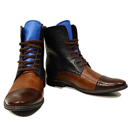 PeppeShoes Modello Sciabole - Cuero Italiano Hecho A Mano Hombre Piel Vistoso Botas Altas - Cuero Cuero Suave - Encaje