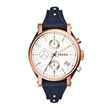 Fossil Women's Original Boyfriend Quartz Stainless Steel and Leather Chronograph Watch, Color: Rose Gold, Navy (Model: ES3838)
