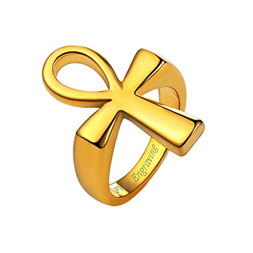 U7 Egyptian Jewelry 18K Gold Plated Cross Ankh Ring, Size 10-with Custom Engraving Service