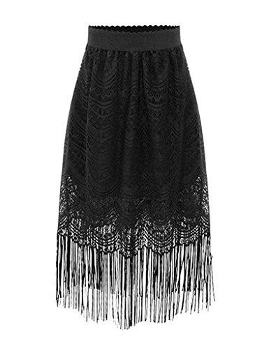 [Jamesoark Beautiful Season Show Womens Flapper Tassel Lined Black Lace Pencil Skirt Dress Short Black M] (H And M Flapper Dress)
