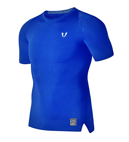 FIRM ABS Athletic Muscal Tight Workout Shirt Men (XL,Blue1)