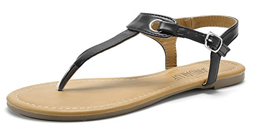 SANDALUP Women's Claire Thong Flat Sandals with Buckle Black 08