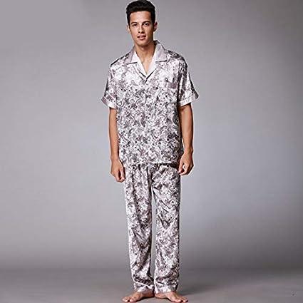 FERZA Home Pijamas de Seda girando Traje de Dos Piezas de Primavera y Verano, túnicas