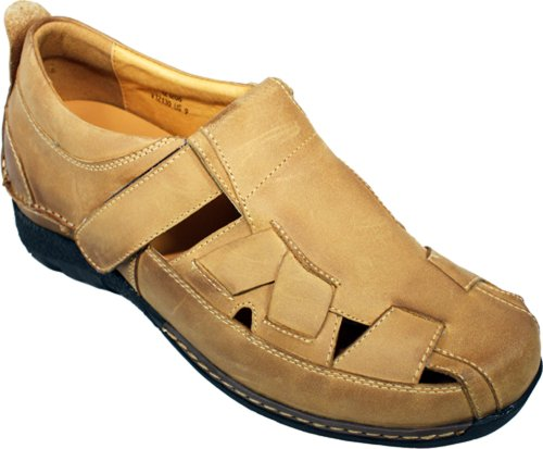 Toto - V12130-2.8 Inches Taller - Size 11.5 D US - Height Increasing Elevator Shoes (Light Brown Leather Fisherman Sandals with Velcro (Brown Leather Fisherman Sandals)