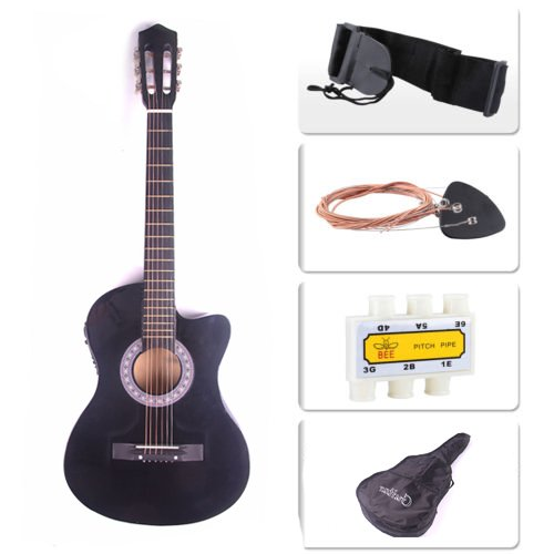 Polar Aurora Electric Acoustic Guitar Cutaway Design With Guitar Case, Strap Black (New Guitar Strap)