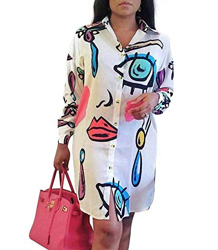 Remelon Womens Graffiti Lip Print Button Down Collar Long Shirt Dress Blouse Mini Dress White Medium