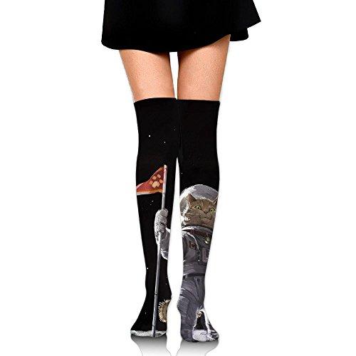 ダイバー生き返らせるアブストラクト宇宙飛行士 猫 ストッキング サイハイソックス 3D デザイン 女性男性 秋と冬 フリーサイズ 美脚 かわいいデザイン 靴下 足元パイル ハイソックス メンズ レディース ブラック