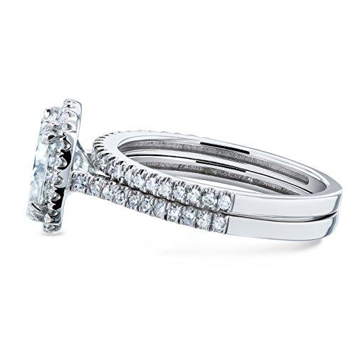 Cushion Brilliant Moissanite and Diamond Halo Bridal Wedding Rings Set 2 3/8 CTW 14k White Gold (FG/VS, GH/I), 5.5 by Kobelli (Image #2)