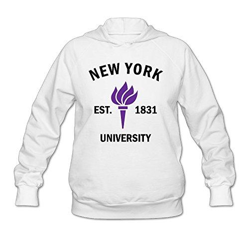 Women's New York University Established 1831 Long Sleeve Hooded Sweatshirt Medium White