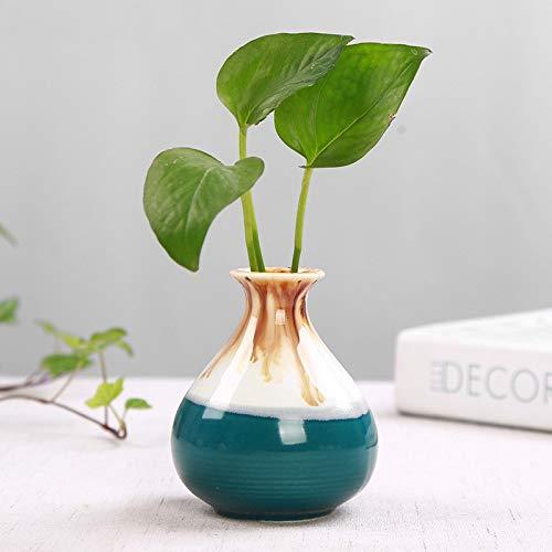 Malachite Green Brown High Body Hydroponic Green Plant Ceramic Vase, Fleshy Flower Pot Plant Container, Plant Flower Pot Succulent Vase, Desktop Bonsai Container Decoration ()