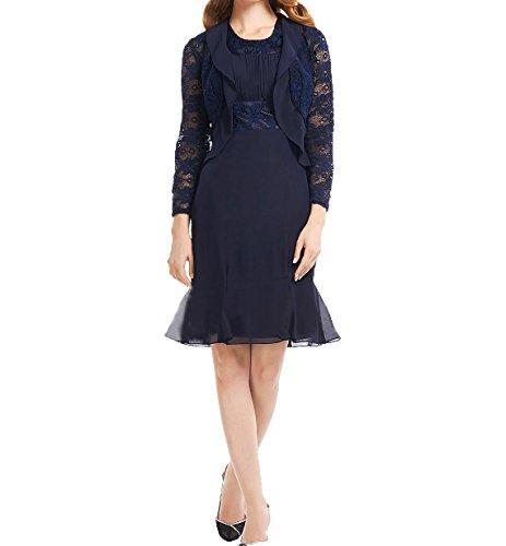 Charmant Navy Etuikleider mit Partykleider Blau Brautmutterkleider Abendkleider Elegant Jaket Chiffon Ballkleider Damen Langarm rxZwqUP6r
