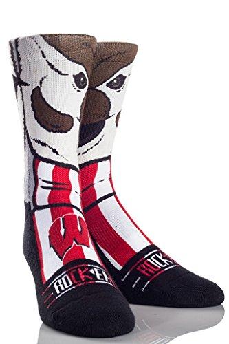Rock'em Apparel University of Wisconsin UW Badgers Custom Athletic Crew Socks (L/XL, Bucky Mascot) (Wisconsin Camo Badgers)