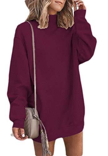 Joe Wenko Women Fall/Winter Sweatshirt Tops Long-Sleeve Turtleneck Short Dress Wine Red M