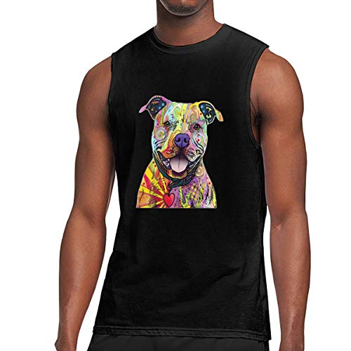 DFGHJZH-L Beware of Pit Bulls Printed - Mens Summertime Sleeveless T-Shirt Cotton Short Sleeve Tank Black (Best Sports Bloopers Of All Time)