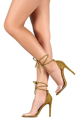 CAPE ROBBIN CherryMad Drew-37 Suede Open Toe Lucite Strap Rope Lace Up Stiletto Heel Olive ItEvzd