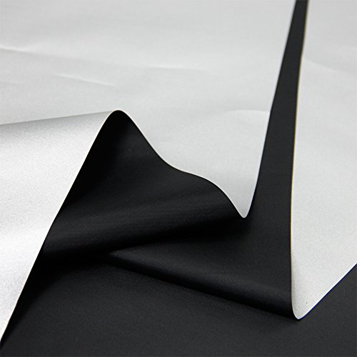 Blackout Drapery Shade Fabric Black and Silver 100% Shading Light Waterproof Sunshade Cloth Light Weight (4Yards) (Blackout Cloth)