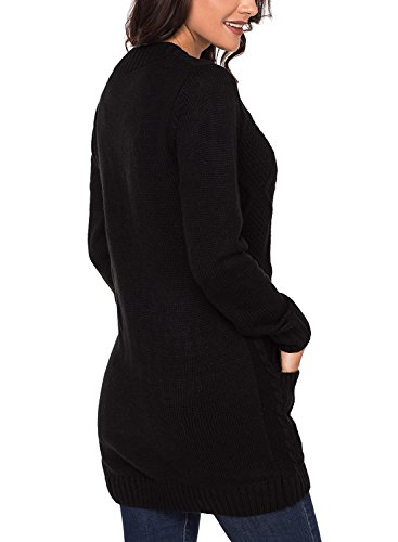 86552cb8ab7da3 Sidefeel Women Open Front Cardigan Sweater Button Down Knit Sweater Coat  Medium Black