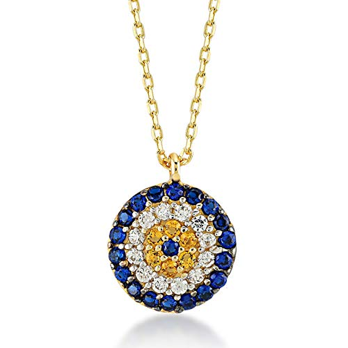 Gelin 14k Yellow Gold Evil Eye Protection Hamsa Chain Pendant Necklace for Women with Cubic Zirconia - Certified Fine Jewelry Gift for Her, 18 inc
