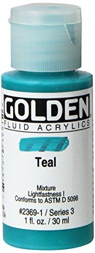 Golden 014000-23691 Fluid Acrylic Paint 1 Ounce-Teal
