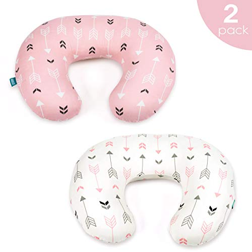 Stretchy Nursing Pillow Covers-2 Pack Nursing Pillow Slipcovers for Breastfeeding Moms,Ultra Soft Snug Fits On Infant Nursing Pillow,Pink & White Arrow