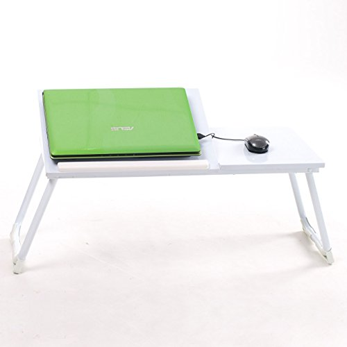 Homy Casa | Portable Laptop Desk | Lightweight Folding Breakfast in Bed TV Dinner Tray | Over Bed Side Hospital Table | Tilt Adjustable Surface with Book/e-Device Edge Stopper (Over (Tech Craft Metal Tv Stand)