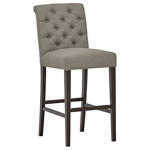 Stone & Beam Carson Tufted Kitchen Counter Bar Stool Chair, 45 Inch Height, Slate Grey