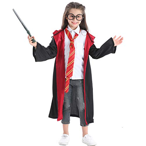 Kadou Kids 4Pcs Magical Wizard Costume Hooded Robe Role Play Dress up Set with Novelty Glasses,Tie and Wand for Children Age 3-8 Black
