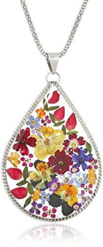 Sterling Silver Multi-Colored Pressed Flower Large Teardrop Pendant Necklace, (Large Teardrop Pendant Necklace)
