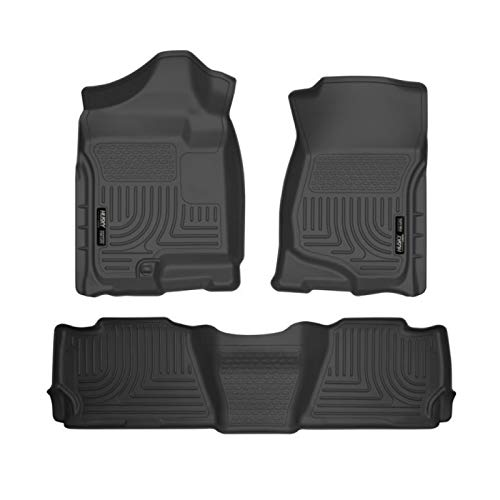 Denali 2nd Row Bench Seats - Husky WeatherBeater 2007-2013 GMC Yukon / Yukon Denali Front & 2nd Seat Floor Liners (Use with 2nd Row Bench or Bucket Seats, Will NOT Fit Hybrids) -BLACK-