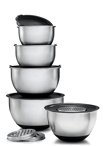 - Ybmhome Set of 5 Stainless Steel Mixing Bowl - Includes Tight Fitting Lids + 3 Sharp Graters Discs - Mirror Finish Stackable Nesting Bowls with Rubber Bottom - Keep Kitchen Clean & Organized