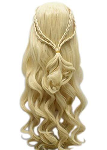 MeiMei Daenerys Targaryen Long Blonde/Silver Wigs Heat Resistant Cosplay Costume (Daenerys, Blonde Curly Braid-Three Layer)