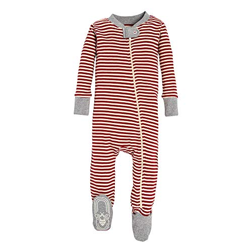Burt's Bees Baby Baby 1-Pack Unisex Pajamas, Zip-Front Non-Slip Footed Sleeper PJs, Organic Cotton, Red/White Stripe, 0-3 Months