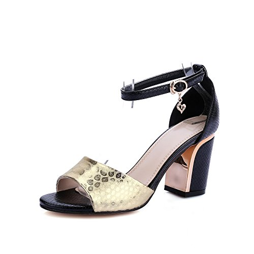 Amoonyfashion Donna Open Toe Tacchi Alti Materiali Materiali Sandali Con Fibbia In Pelle Nera