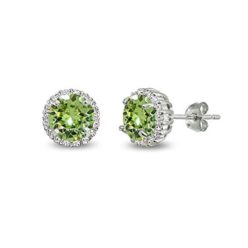 Sterling Silver Light Green 6mm Round-cut Halo Stud Earrings Made with Swarovski Crystals