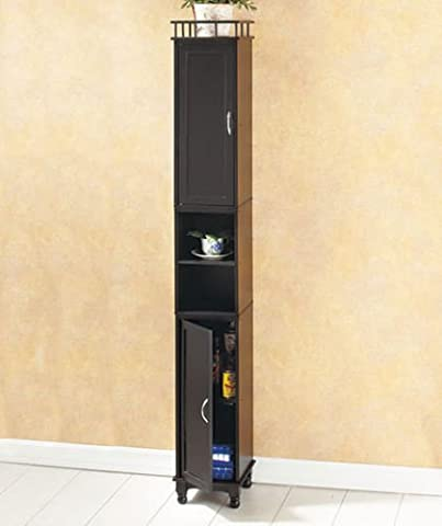 BLACK TALL SLIM WOOD TOWER STORAGE CABINET SHELF KITCHEN BATH Book Art Display - Mirrored Set China Cabinet