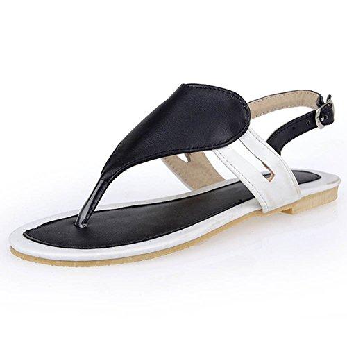 Chfso Donna Casual Sottopiede Morbido Infradito Sandalo Con Fibbia Tacco Piatto Antiscivolo Nero