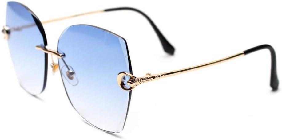 HPPSLT Gafas de Sol Polarizadas Clásico Retro para UV400 Protection, Gafas de Montura Fina con Montura Fina de Diamante Fino sin Marco para Mujer