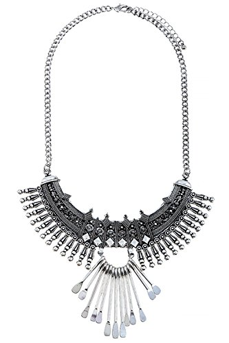 [THE JEWEL RACK ETCHED PATTERN BAR FRINGE BIB NECKLACE (Antique Silver)] (Lobster Claw Costume Pattern)