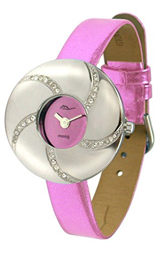 Moog Paris - Hypnotyse - Women's Watch with pink dial, pink strap in Genuine calf leather, made in France - M44312-006