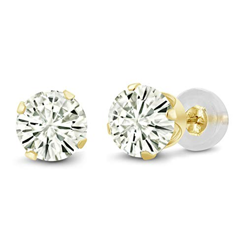 14K Yellow Gold Stud Earrings Forever Classic Round 2.00ct (DEW) Created Moissanite by Charles & Colvard