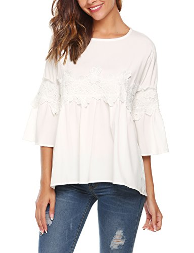 - SoTeer Women White 3/4 Sleeve Floral Top Blouse Lace Crochet Cotton Shirt(White M)