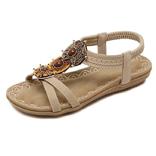 YMFIE Las señoras de Verano Bohemio moldearon Las Sandalias Suaves del Dedo del pie de Las Vacaciones Casuales de Las Vacaciones Antideslizantes los Zapatos de la Playa A