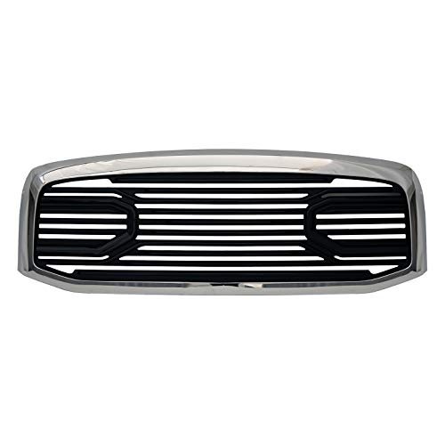 Paragon Front Grille for 2006-08 Dodge Ram 1500/2500/3500 - Chrome/Black RAM Style Grill Grilles with Mesh -